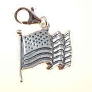 US Flag 3D Sterling Silver Clip On Charm - With Clasp
